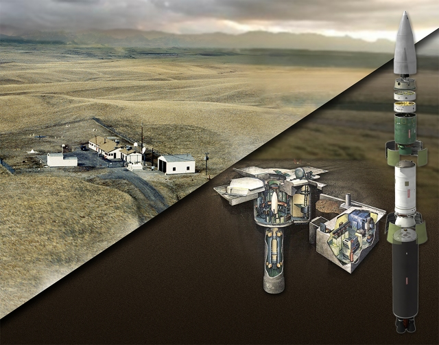 A rendering of missile interceptor and a testing site