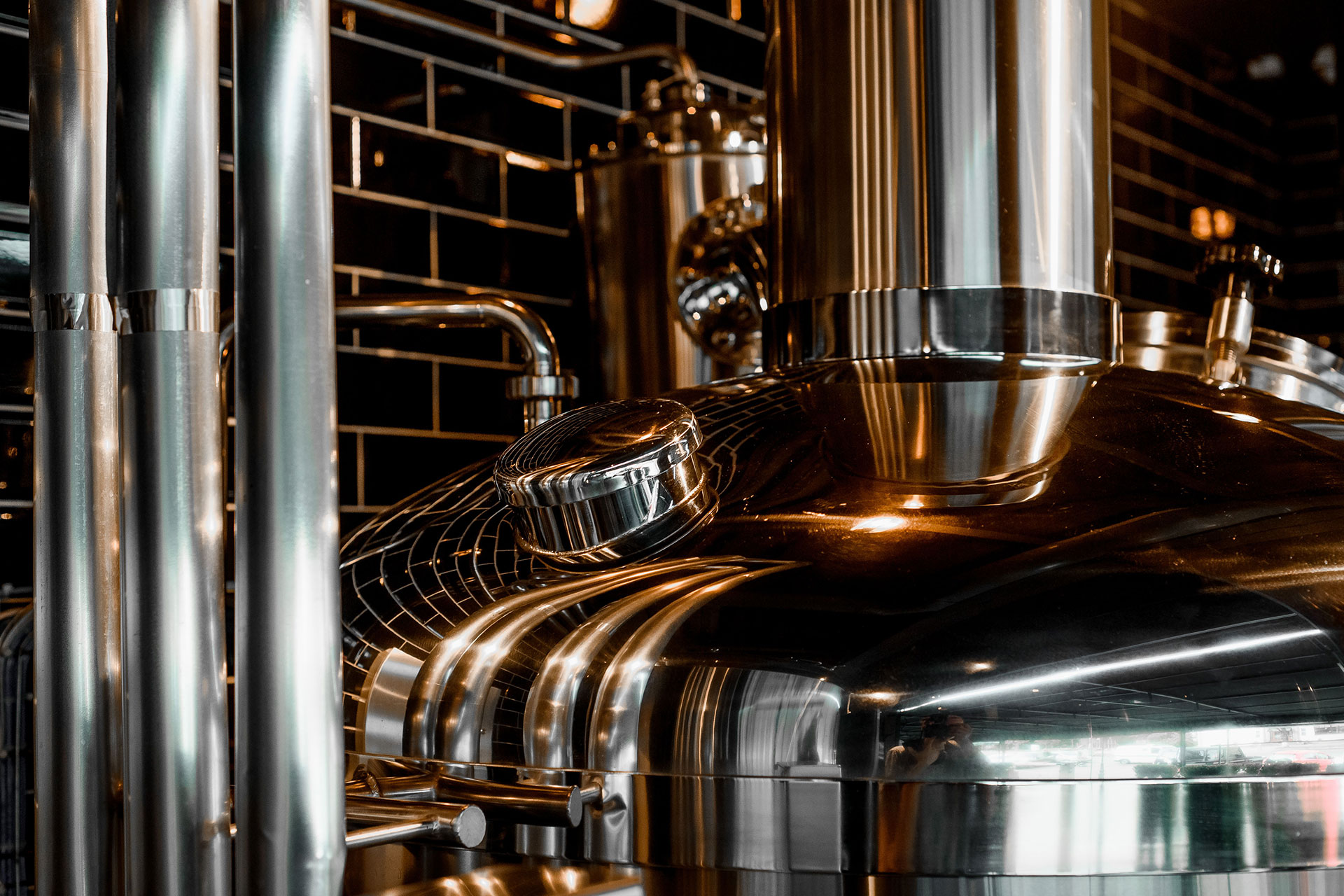 Craft beer brewing equipment in brewery
