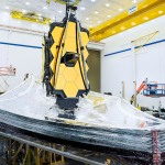 Fully assembled view of a space telescope in manufacturing plant