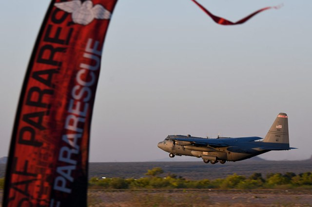 C-130 aircraft taking off