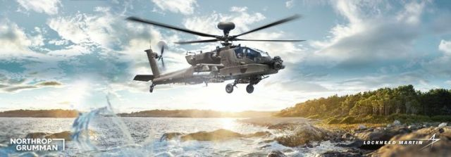 illustration of Apache helicopter over water