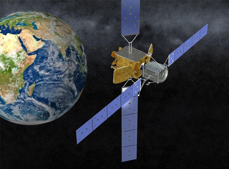 artist rendering satellite in orbit with MEV