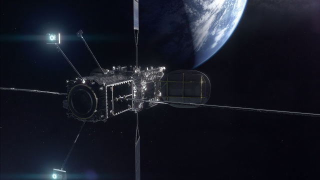 Mission Extension Vehicle attached to a large satellite orbiting the Earth