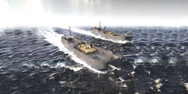 Conceptual illustration of the Army's new landing craft on ship