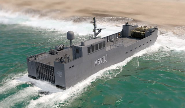 Conceptual illustration of the Army's Maneuver Support Vessel landing on beach
