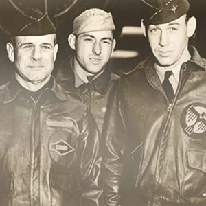old black and white photo of three pilots