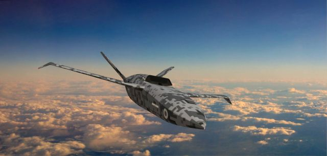 Digital Rendering of autonomous plane flying on a blude sky with clouds background