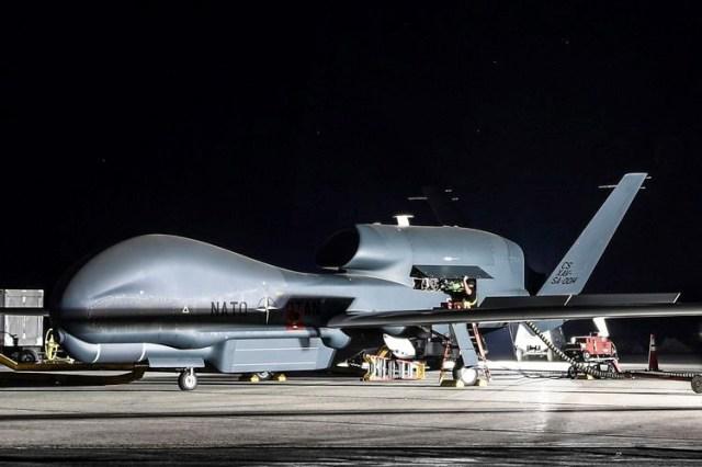 aircraft being serviced at night
