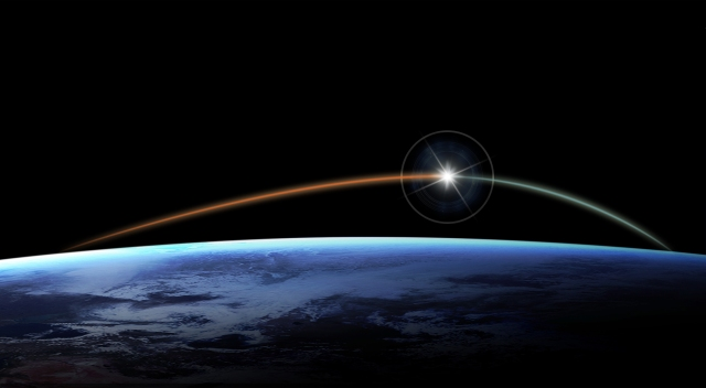 Twilit sky in space with a bright star and streak arching over Earth's atmosphere