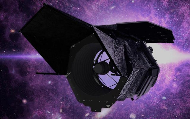 space telescope with purple skies and galaxies