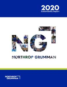 Cover of a report for the Northrop Grumman 2020 Sustainability Report