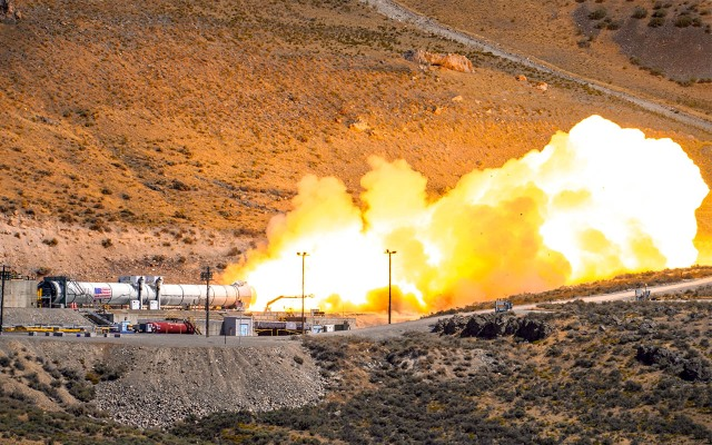 Rocket launch test with smoke and flames