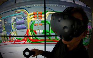 A photo of someone experiencing virtual reality