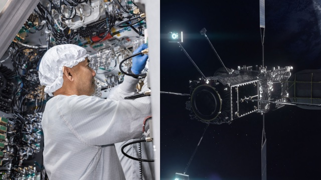 Image with two sides, one with a man in a white bunny suit in a room full of wires. Second side is an iamge of the MEV in space.