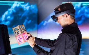 Photo of person experiencing augmented virtuality