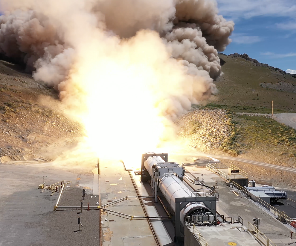Northrop Grumman conducted a successful static test of the company's OmegA first stage in Promontory, Utah. (May 30, 2019)