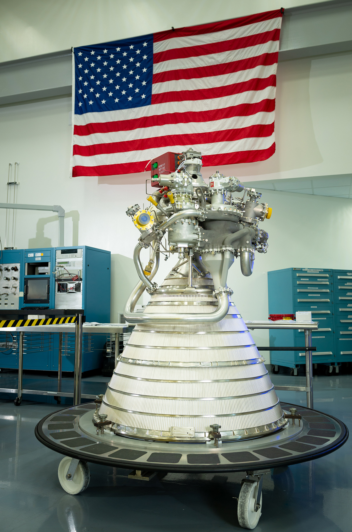 The upper stage engines for OmegA's first flight have been assembled and will soon undergo testing at Aerojet Rocketdyne's facility in West Palm Beach, Florida. (August 2019) Photo credit: Aerojet Rocketdyne