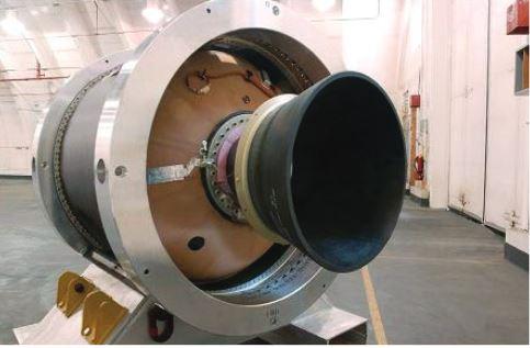 A rocket motor inside a hangar