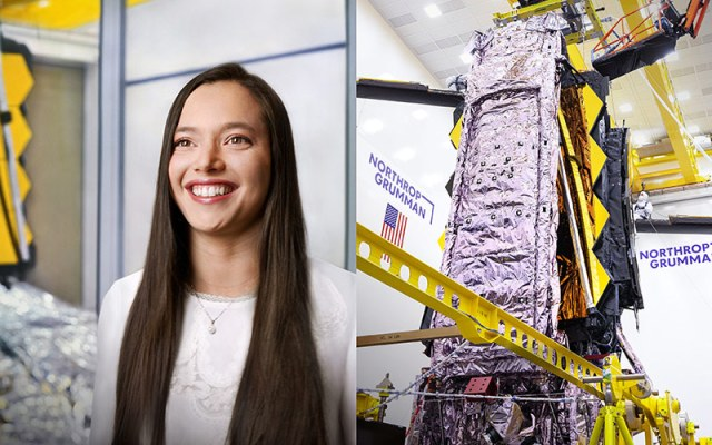 woman and space telescope