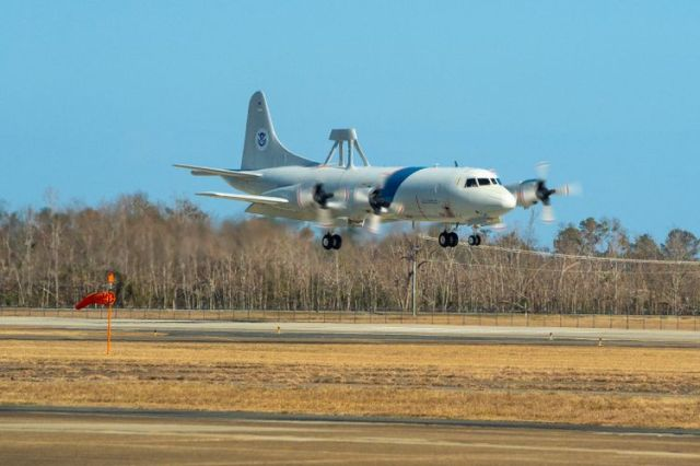 U.S. Customs and Border Protection P-3 Orion aircraft arrives at Northrop Grumman's Aircraft Maintenance and Fabrication Center in Lake Charles, Louisiana, for depot level maintenance.
