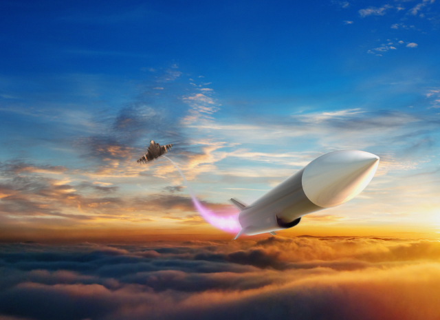 3D rendering of a hypersonic vehicle above Earth