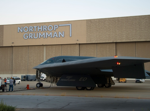 """The """"Spirit of Pennsylvania,"""" a B-2 stealth bomber is towed in front of the Palmdale, California location of Northrop Grumman"""