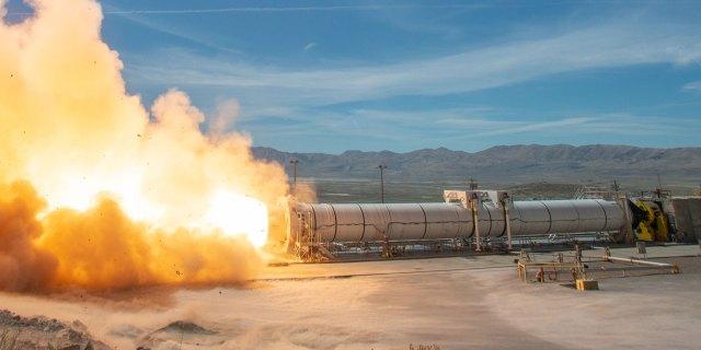 rocket engine test in desert