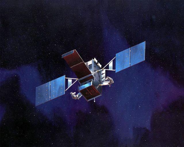 rendering of a satellite in space
