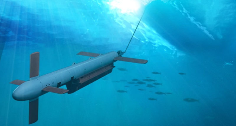 Underwater minehunting product projected downward in the ocean