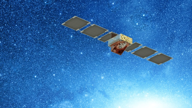 A satellite in Space in front of star filled sky