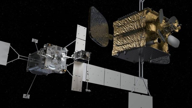 The Mission Robotic Vehicle, shown with DARPA's RSGS Robotic Payload is pioneering robotic servicing of satellites. (Artist Rendering)