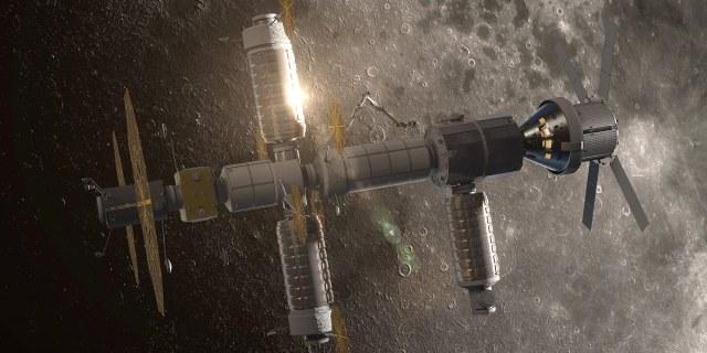 futuristic spacecraft above the moon