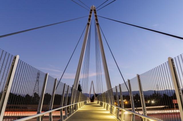 Dusk over Don Burnett Bicycle-Pedestrian Bridge