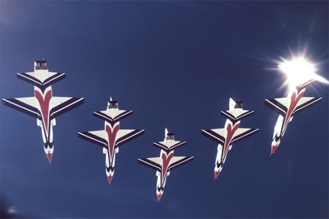 multiple T-38 Talon fighters in the air