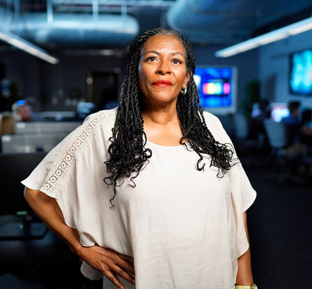 Black woman in computer lab