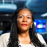 Black woman in computer room