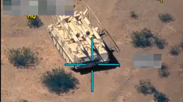 military tank in the crosshairs