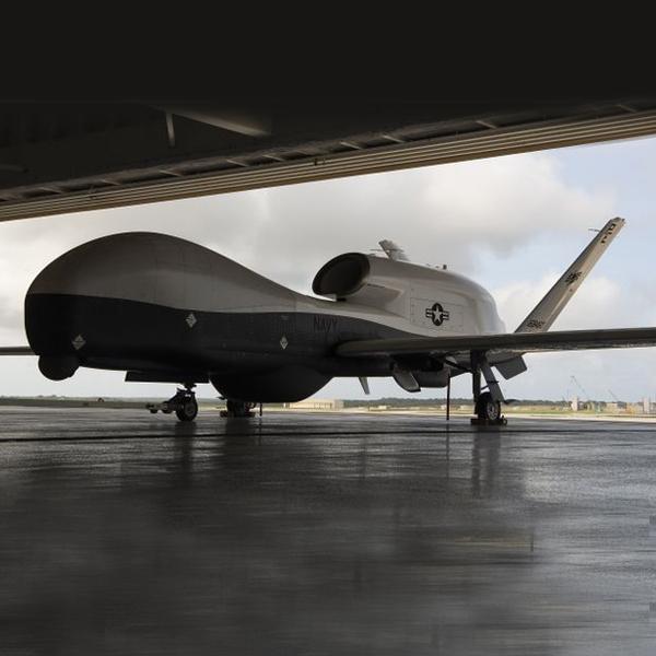unmanned aircraft inside a hangar