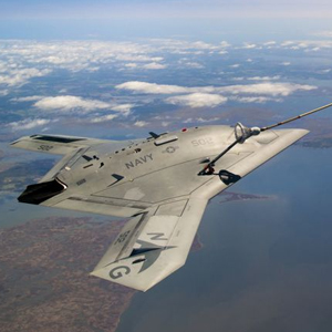 X-47B aircraft refueling in the sky