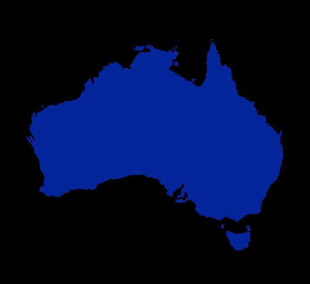 outline of Australia in blue