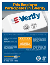 Photo of an E-Verify participation poster