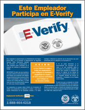 Photo of E-Verify participation poster in spanish