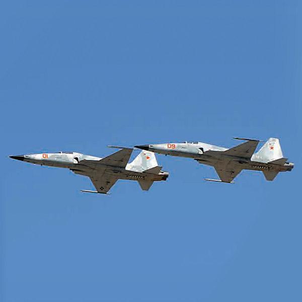 2 fighter jets inflight against blue sky
