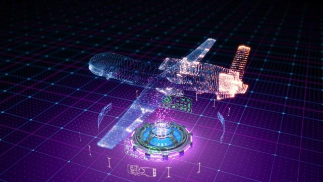 Digital rendering - diargram of global hawk on a purple/digital background