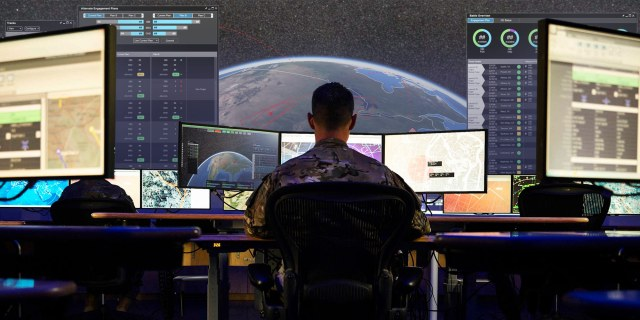 soldier working on computers tracking hypersonic missiles