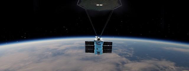 Satellite in orbit over earth