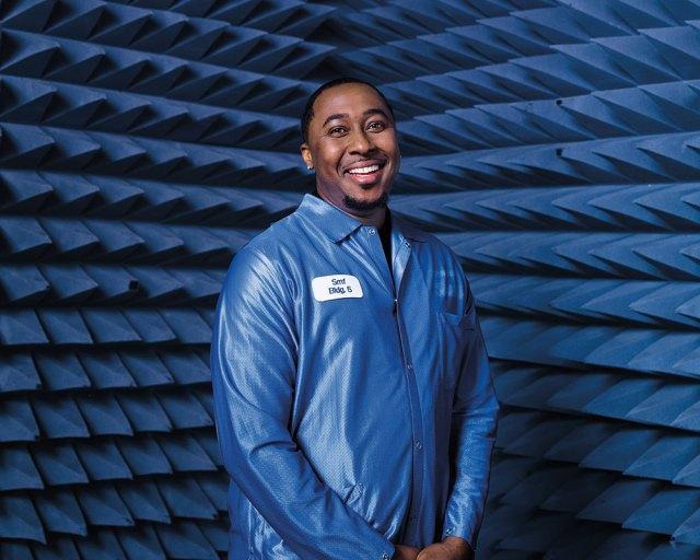 male employee in blue anachoic chamber