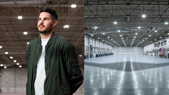 Two sided collage. Left side: White male standing in airplane hangar. Right side - shadow of an airplane in an empty hangar.