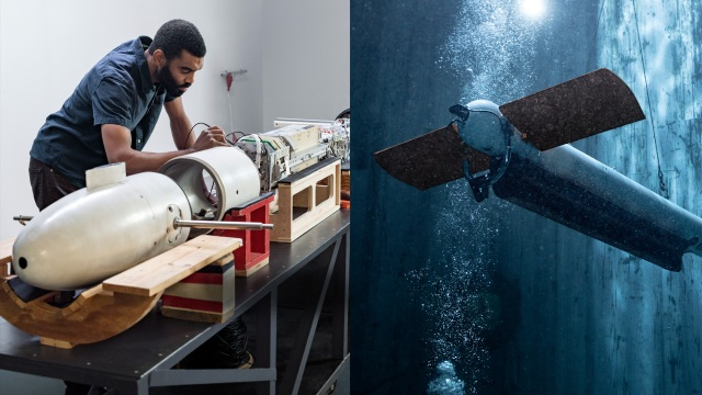 Two sided collage - left side is African American man bending over white torpedo in a manufacturing setting. Right side is the torpedo in action under water.