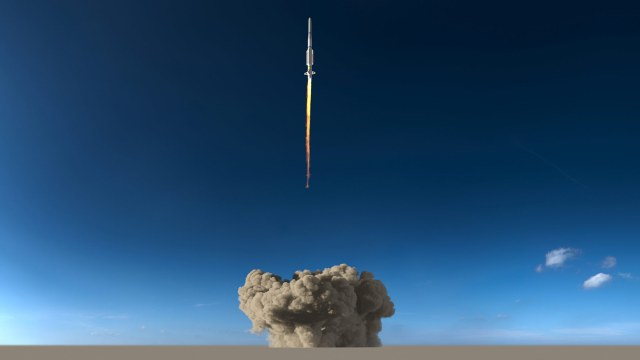 a rocket takes off in the desert